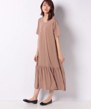 裾ティアード半袖カットソーワンピース