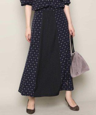 【洗濯機で洗える】小紋ドットプリントマキシスカート