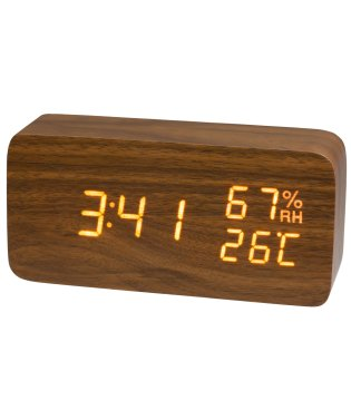 PLUS DECO プラスデコ 目覚まし時計 木調  温度計 湿度計 インテリアクロック ウッド LED【IAC-5655】