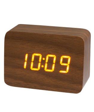 PLUS DECO プラスデコ 目覚まし時計 インテリアクロック ウッド LED 木調 小型【IAC-5656】
