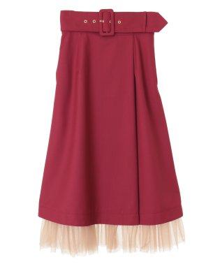 裾チュールツイルカーゴスカート