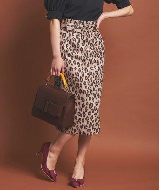 ベルト付レオパード柄スカート