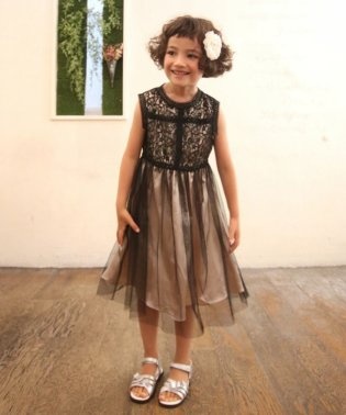 レースハイネック×チュールスカートドレス(KIDS)