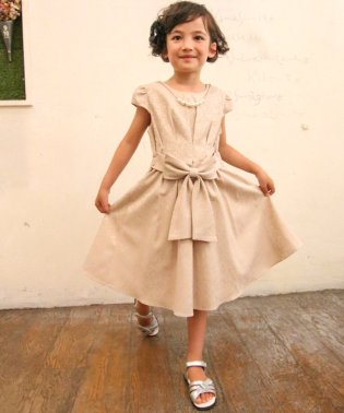 ジャガード素材リボン付きドレス(KIDS)