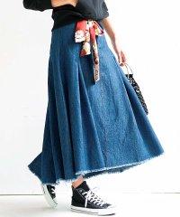 スカーフ付ロングフレアースカート