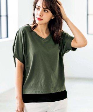 裾レイヤード風バックプリントTシャツ