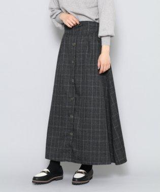 【SENSEOFPLACE】チェックフロントボタンロングスカート