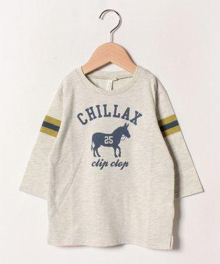 袖ラインロバプリント7分袖Tシャツ