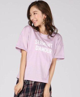 《洗濯機で洗える》ロゴプリントドルマンTシャツ