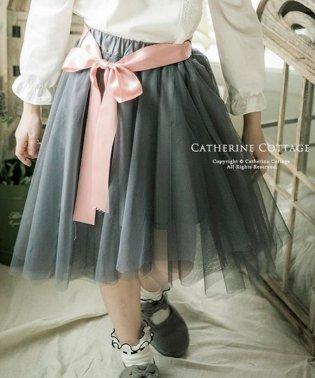 アシンメトリーチュールスカート【ウエストリボン付き♪】