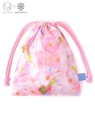 巾着 給食袋 ウォータリーピンク(オックス)  【mika】