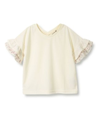 袖花柄フリル5分袖Tシャツ(90~150cm)