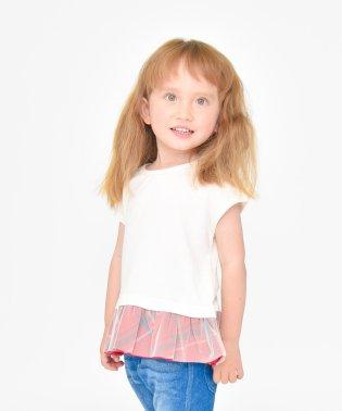 【プチプラ】裾チェック半袖Tシャツ(90~150cm)
