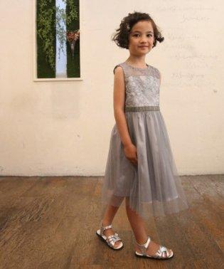 【ドレスライン】オーガンジー刺繍×チュールスカートドレス