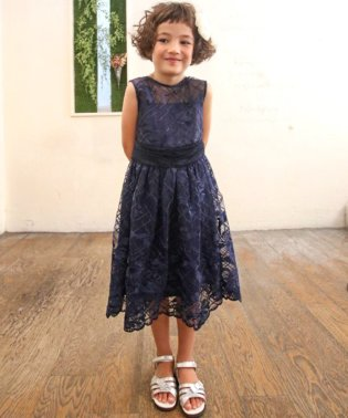 【ドレスライン】オーガンジー×スパンコール刺繍ドレス