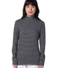 袖ロゴ刺繍ボーダーハイネックロングTシャツ・カットソー