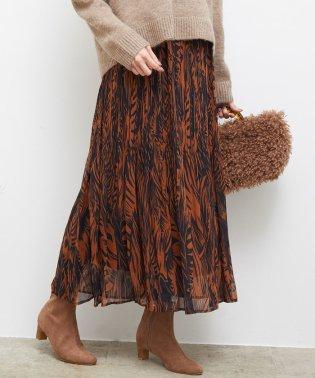 リーフプリントプリーツスカート