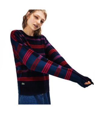 コットン鹿の子地ボーダーニットセーター