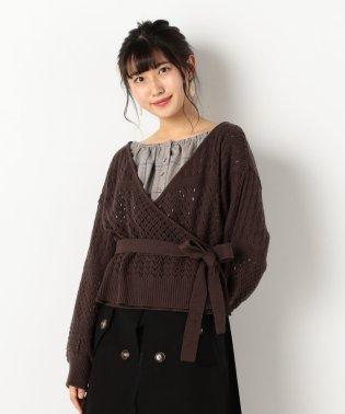 A-透かし編みカシュクールカーディガン