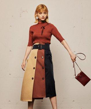カラーブロックトレンチスカート