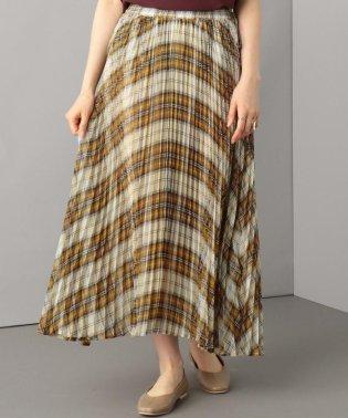 チェックプリーツロング スカート