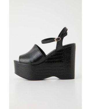 COVERED CROCO WEDGE SANDAL
