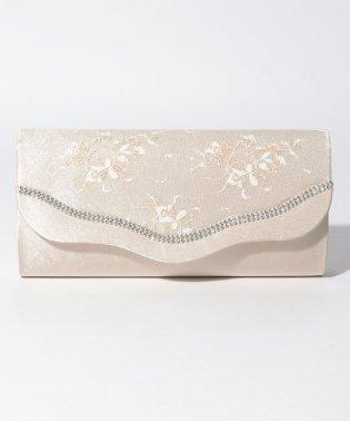 金糸花柄レースウェーブフラップパーティークラッチバッグ