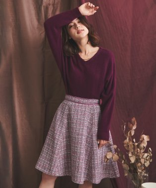 【美人百花12月号掲載】ベルト配色ツイードスカート
