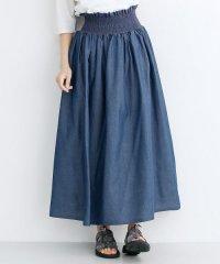 配色スモッキングシャンブレーギャザースカート