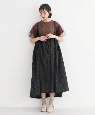 ギンガムチェック柄サスペンダーギャザージャンパースカート