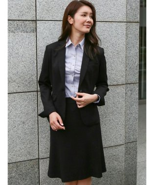 ストレッチウォッシャブル ポンチ1釦ジャケット+スカート 黒