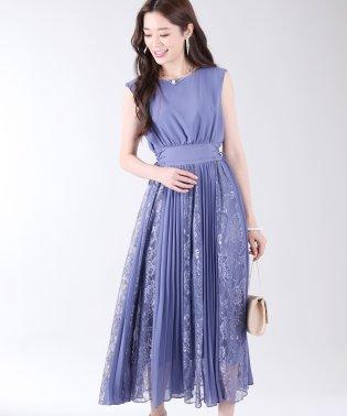 《結婚式 パーティー 二次会》サイドレースアップレース×プリーツ切替ドレス