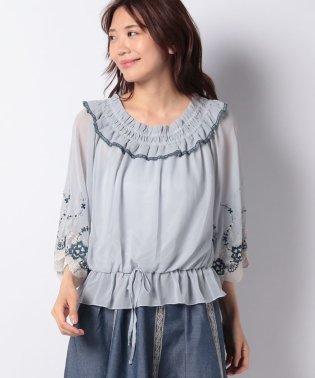 袖刺繍シフォンPO