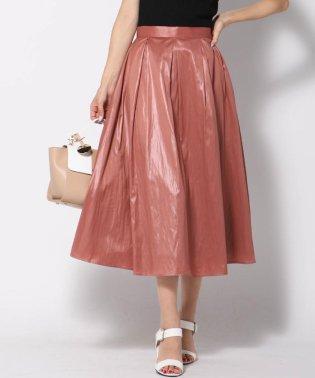 【大きいサイズ】合皮調グロッシーフレアスカート