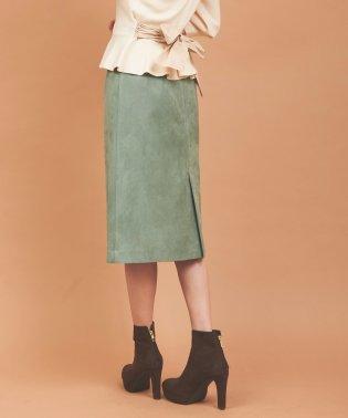 【美人百花10月号掲載】ビットベルト付フェイクスウェードタイトスカート