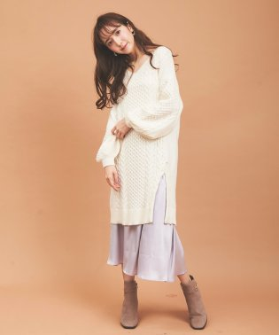 【美人百花10月号掲載】ケーブルニットサテンスカートレイヤーワンピース