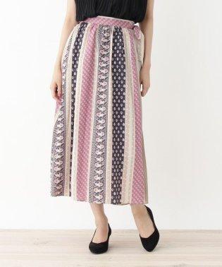 プリーツラップ南仏風プリントスカート