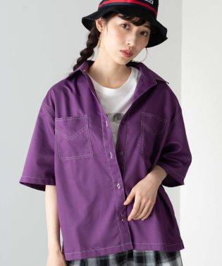 WEGO/ステッチダブルポケットシャツ