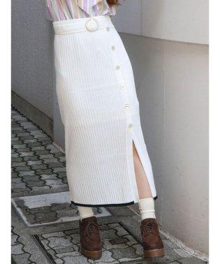 サッシュベルトニットロングスカート