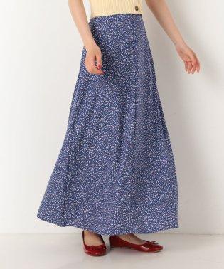 フロント釦花柄フレアスカート