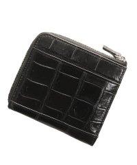 シャムクロコダイルレザーL字ファスナーミニ財布
