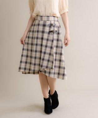 キルトベルト付ラップ風ヘムスカート(9R10-09123)