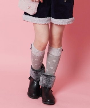 【KIDS雑貨】ファー付きドットソックス(16~24cm)