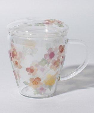 フラワー柄茶漉し付き耐熱マグカップ