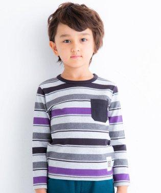 天竺BOYボーダーポケット付きTシャツ