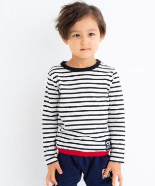 天竺裾配色ボーダーTシャツ