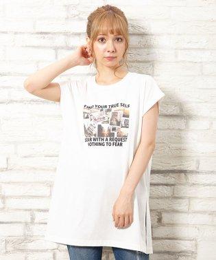 フレンチスリーブ転写プリントチュニックTシャツ