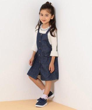 【100-130cm】リボンポケット ジャンバースカート