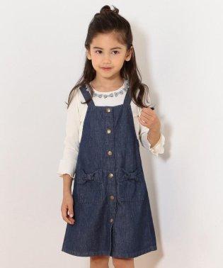 【140-150cm】リボンポケット ジャンバースカート