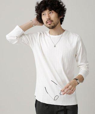 ワイド針抜きリブクルーネックTシャツ L/S